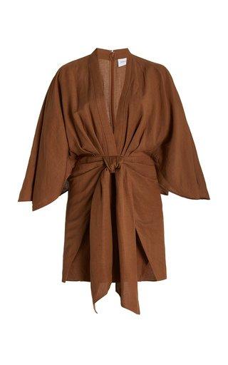 Lola Linen-Blend Mini Wrap Dress