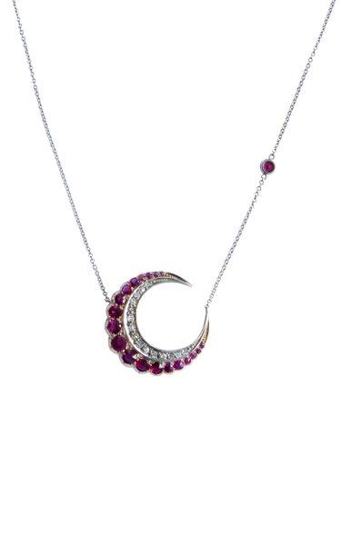 Victorian 18K White Gold Ruby, Diamond Crescent Necklace