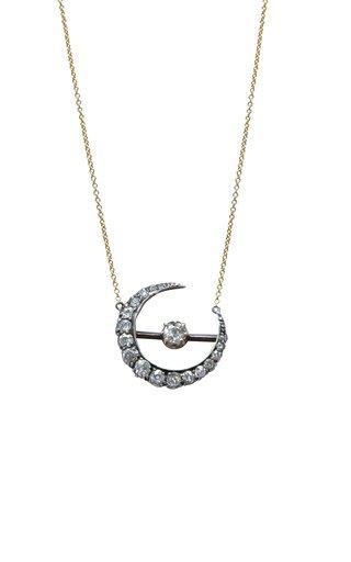 Victorian 18K Yellow Gold Diamond Crescent Necklace