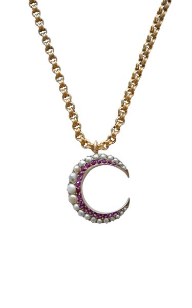 Victorian 10K Gold Pearl, Ruby Crescent Necklace
