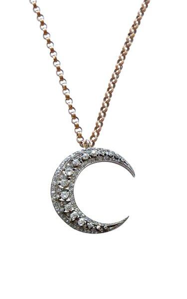Victorian 12K Gold Diamond Crescent Necklace
