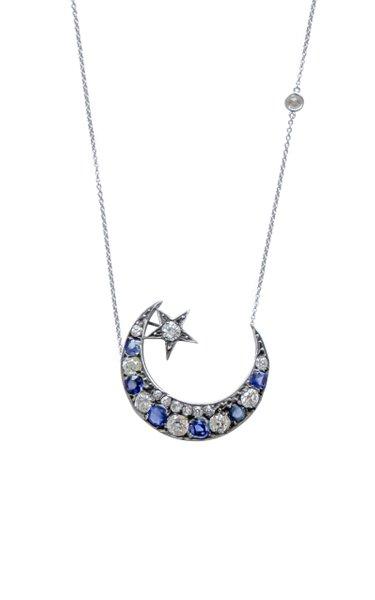 Victorian 18K White Gold Diamond Crescent Necklace