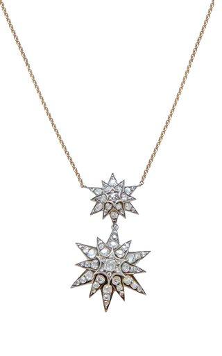Victorian 18K Yellow Gold Diamond Star Necklace