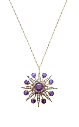 Victorian 18K Yellow Gold Amethyst, Pearl Star Necklace