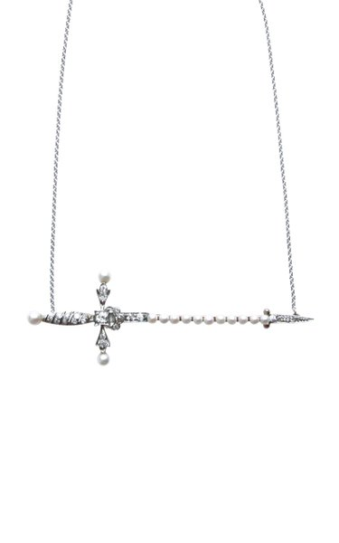 Victorian 18K Gold Diamond, Pearl Sword Necklace