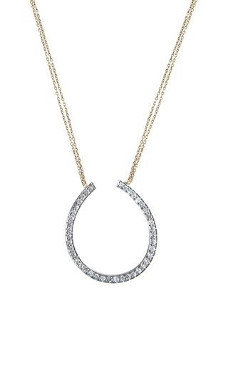 Victorian 18K Yellow Gold Diamond Horseshoe Necklace