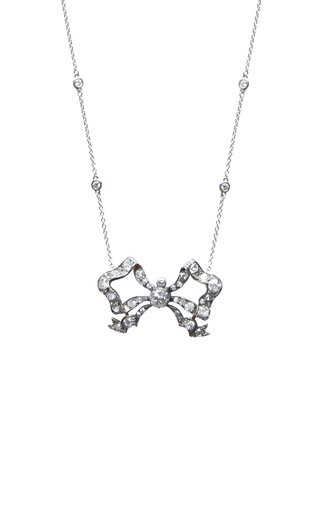 Victorian 18K Gold Diamond Bow Necklace