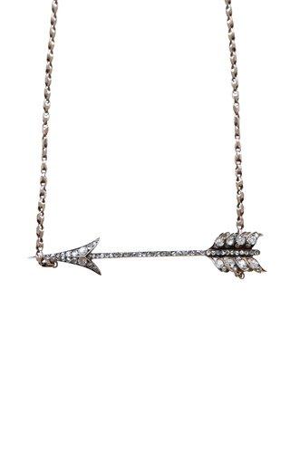 Victorian 14K Gold Diamond Arrow Necklace
