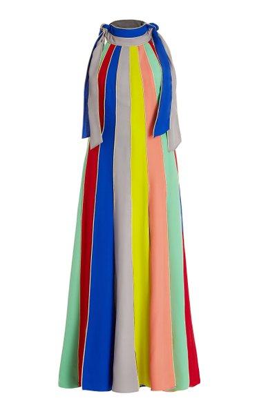 Colorblocked Silk Carwash Halter Gown