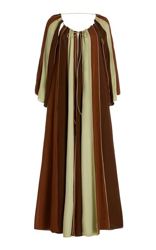 Colorblocked Georgette Umbrella Caftan Dress