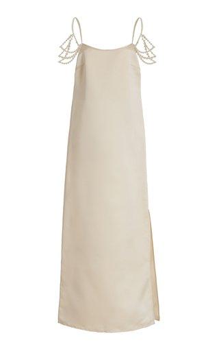 Pearl-Embellished Satin Maxi Slip Dress
