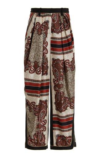 Pleated Silk Scarf Pants