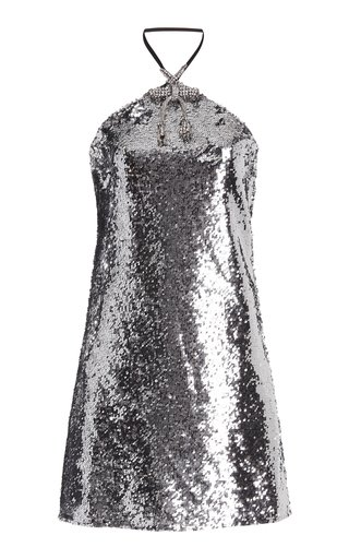 Crystal-Trimmed Sequined Mini Dress