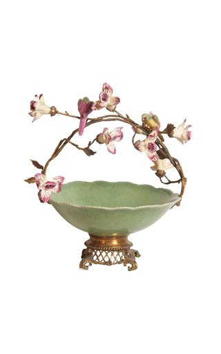 Decorated Green Bowl With Flowers