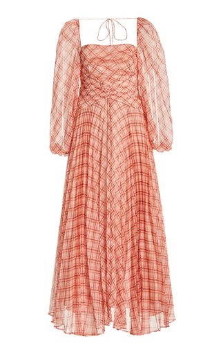 Mattison Pleated Plaid Chiffon Maxi Dress