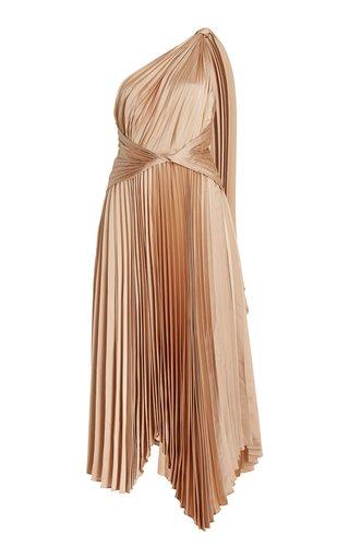 Kalora Pleated Satin One-Shoulder Midi Dress