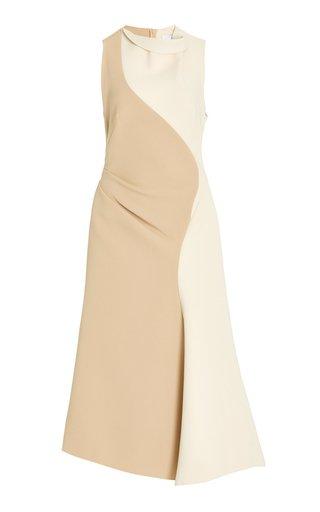 Cambray Draped Two-Tone Crepe Midi Dress