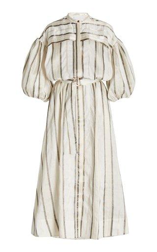 Stratford Belted Striped Linen-Blend Midi Shirt Dress