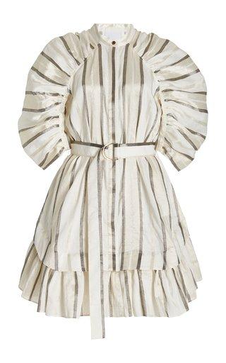 Leighton Puff-Sleeve Striped Linen-Blend Mini Dress