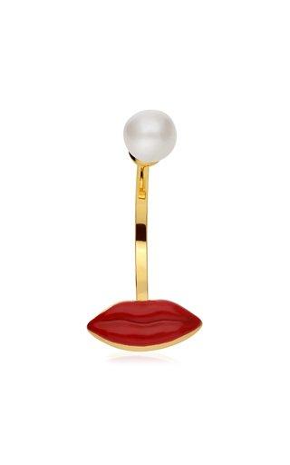 Lip Piercing Enameled 9K Yellow Gold Pearl Earring