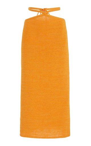 Hedda Tie-Detailed Cotton-Blend Midi Skirt