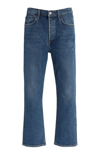 Riley Stretch High-Rise Cropped Straight-Leg Jeans