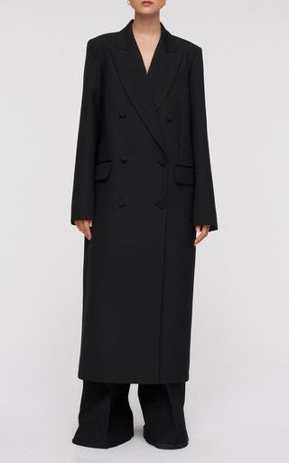 Cafford Double-Breasted Crepe Coat