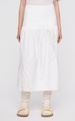 Samina Embroidered Cotton Midi Skirt