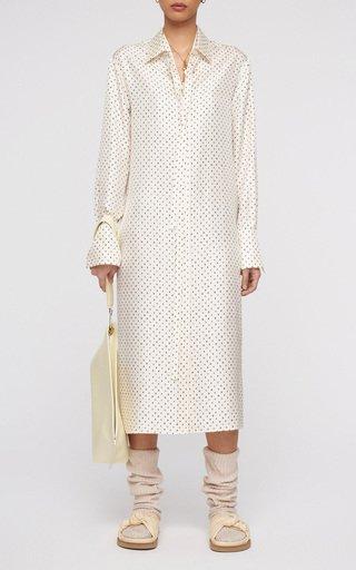 Dold Polka-Dot Silk Shirt Dress