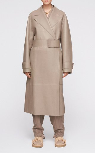 Chari Belted Leather Long Coat