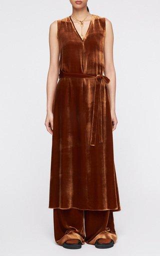 Dorsay Belted Velvet Midi Dress