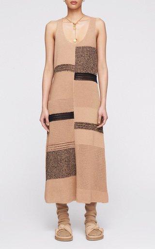 Patchwork Cotton-Knit Midi Dress
