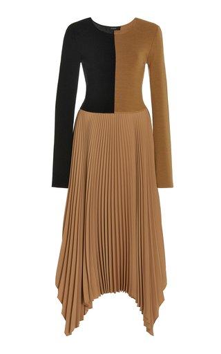 Deron Two-Tone Knit Midi Dress