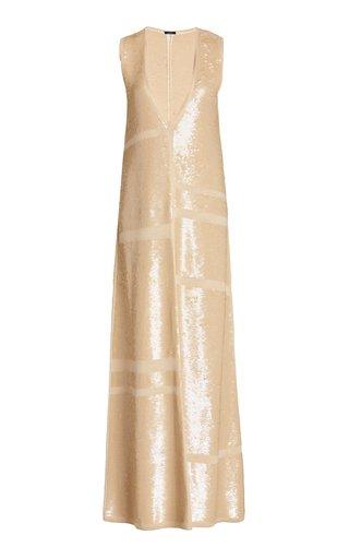 Sequined Wool-Blend Maxi Dress