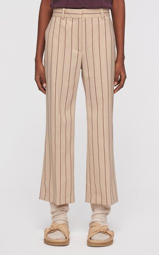 Talia Striped Wool-Blend Cropped Trousers