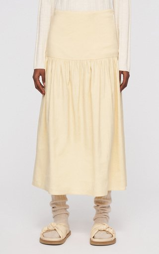 Samina Linen-Blend Midi Skirt