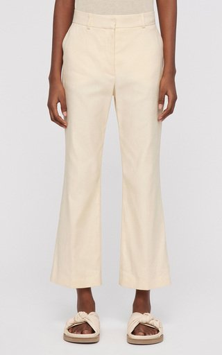 Talia Linen-Blend Cropped Trousers
