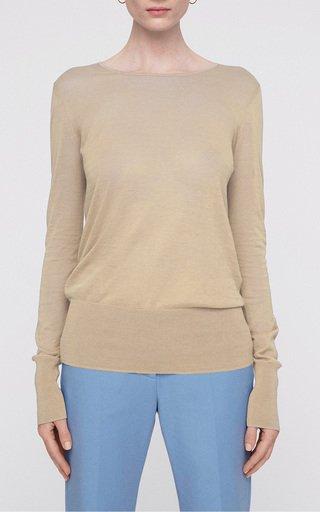 Long-Sleeve Cotton-Silk Top