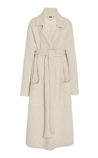 Belted Striped Wool-Blend Coat