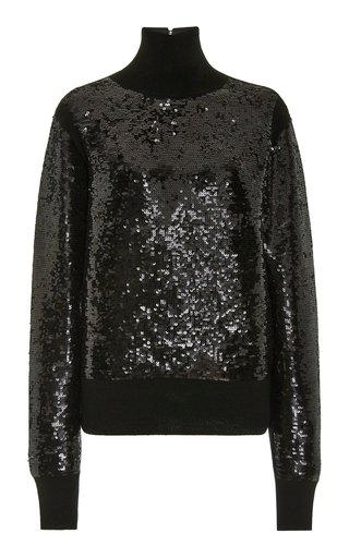 Sequined Wool-Blend Turtleneck Sweater