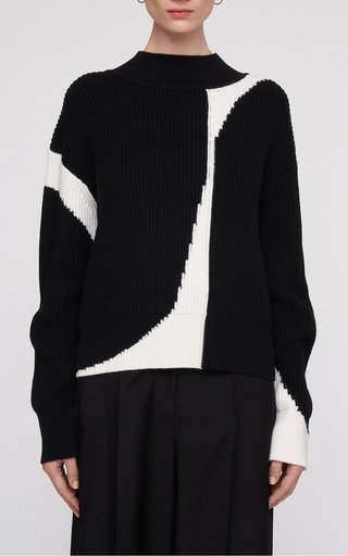Ribbed Wool-Cotton Knit Sweater