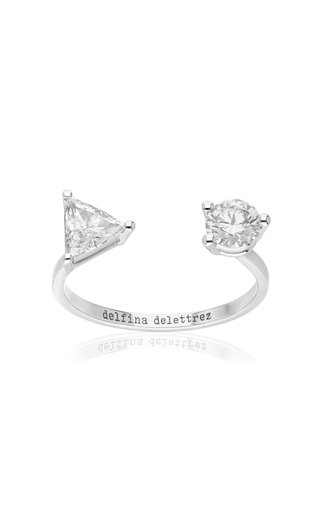 Dot and Triangle 18K White Gold Diamond Ring