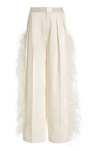 Feather-Trimmed Pleated Satin Wide-Leg Trousers
