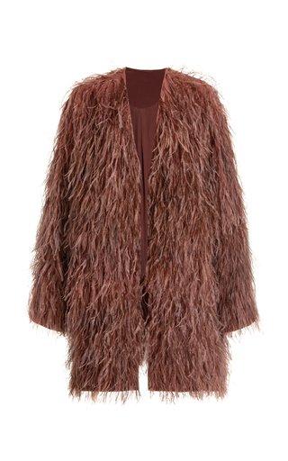 Feather-Embellished Silk Coat