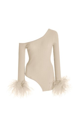 Asymmetric Feather-Trimmed Wool, Cashmere, and Silk Top
