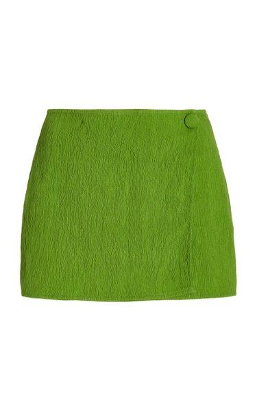 Jordi Plisse-Jacquard Mini Skirt