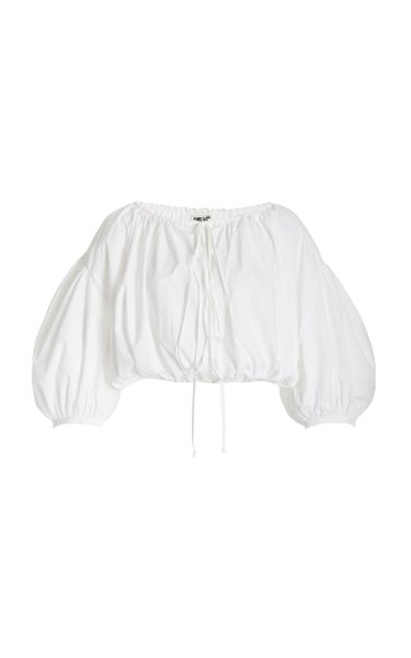Olympia Washed Cotton Cropped Top