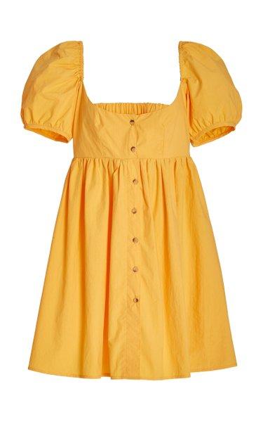 Diana Puffed-Sleeve Cotton Mini Dress