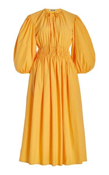 Georgina Balloon-Sleeve Cotton Midi Dress