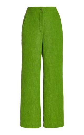 Pietro Plisse-Jacquard Cropped Wide-Leg Pants